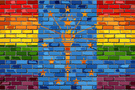 Brick Wall Indiana and Gay flags - Illustration, Rainbow flag on brick textured background,  Abstract grunge Indiana Flag and LGBT flag