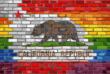 Rainbow flag on brick textured background.