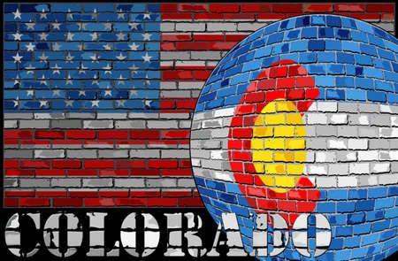 Colorado flag on the USA flag background - Illustration,  Ball with Colorado flag