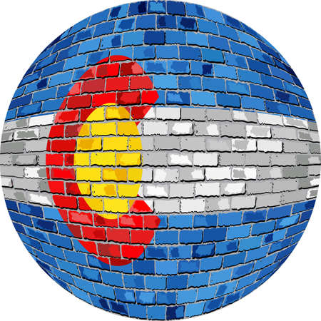 Ball with Colorado flag - Illustration,  Colorado flag sphere in brick style,   Abstract Grunge Mosaic flag of Colorado in circle