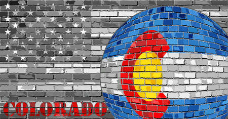 Colorado flag on the grey USA flag. Illustration