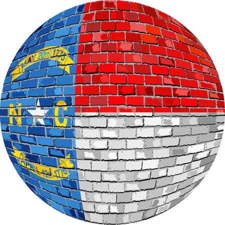 Ball with North Carolina flag - Illustration,  Colorado flag sphere in brick style,   Abstract Grunge brick flag of North Carolina in circle Illustration