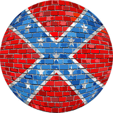 Ball with Confederate flag - Illustration,  Confederate flag sphere in brick style,   Abstract Grunge brick flag of Confederate in circle Illustration