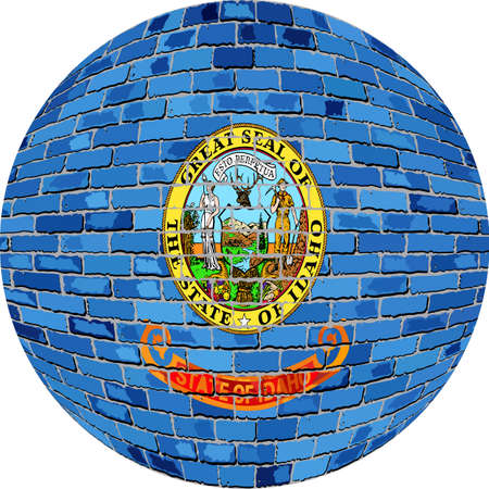 レンガ スタイルのアイダホ州旗 - 図では、アイダホ州フラグ球でボール。