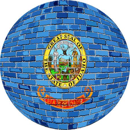 Ball with Idaho flag - Illustration,  Idaho flag sphere in brick style. Illustration