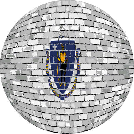 レンガ スタイル、サークルでマサチューセッツ州の抽象的なグランジ レンガ旗のマサチューセッツ州旗 - 図では、マサチューセッツ州フラグ球でボ