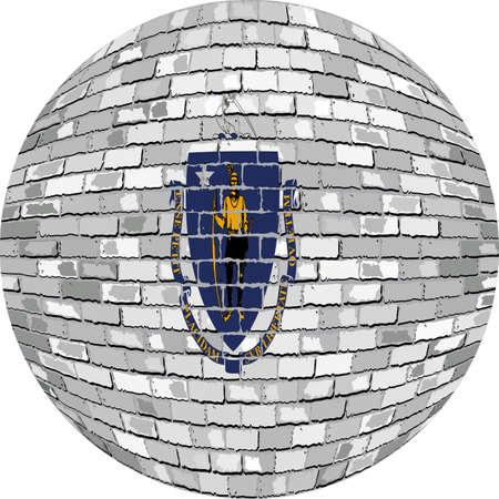 Ball with Massachusetts flag - Illustration,  Massachusetts flag sphere in brick style,   Abstract Grunge brick flag of Massachusetts in circle