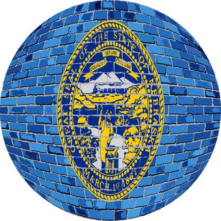 Abstract Grunge brick flag of Nebraska in circle