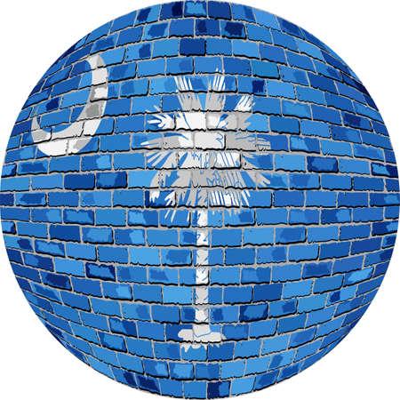 サウスカロライナ - イラスト、レンガ スタイルのサウスカロライナ フラグ球でボール。
