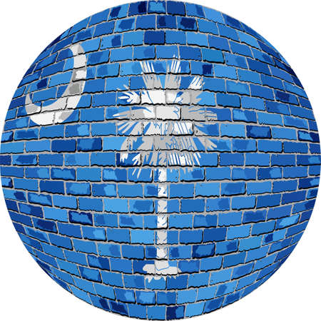 Ball with South Carolina - Illustration, South Carolina flag sphere in brick style.
