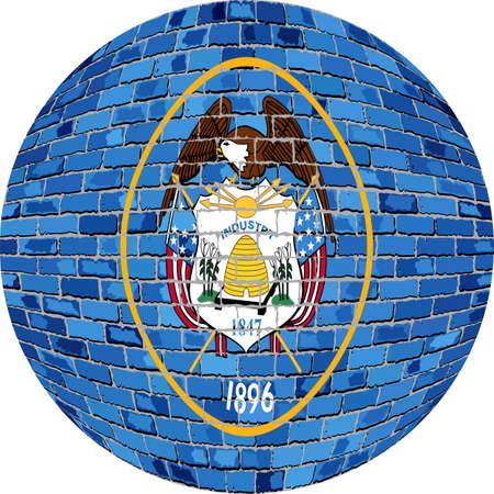 Ball with Utah flag - Illustration,  Utah flag sphere in brick style,   Abstract Grunge brick flag of Utah in circle Illustration