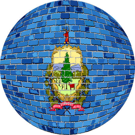 Ball with Vermont flag - Illustration,  Vermont flag sphere in brick style,   Abstract Grunge brick flag of Vermont in circle