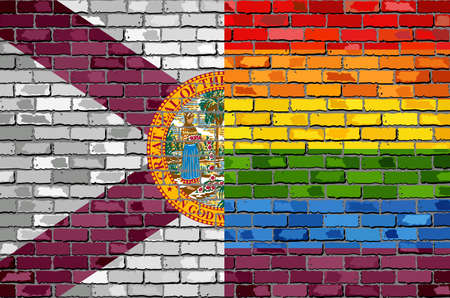 Brick Wall Florida and Gay flags - Illustration, Rainbow flag on brick textured background,  Abstract grunge Florida Flag and LGBT flag