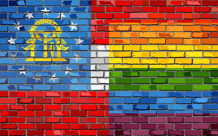 Brick Wall Georgia and Gay flags - Illustration, Rainbow flag on brick textured background,  Abstract grunge Georgia Flag and LGBT flag