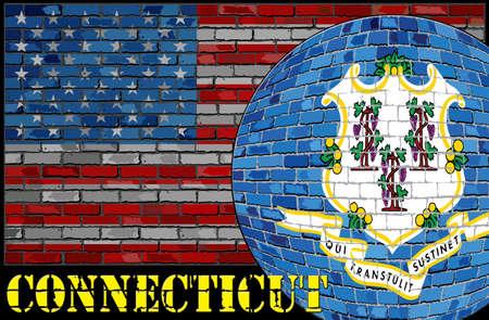 De vlag van Connecticut op de de vlagachtergrond van de VS - Illustratie, Bal met de vlag van Connecticut Stockfoto