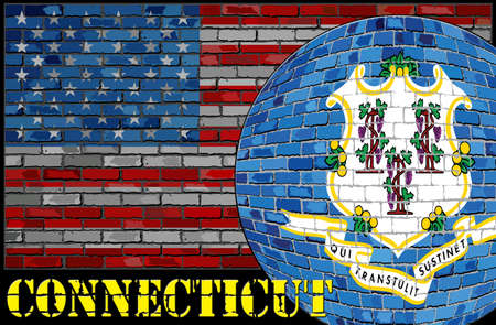 Connecticut flag on the USA flag background - Illustration,  Ball with Connecticut flag