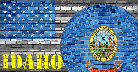 회색에 아이다 호 플래그 미국 국기 배경 - 그림, 아이다 호 플래그로 공 일러스트