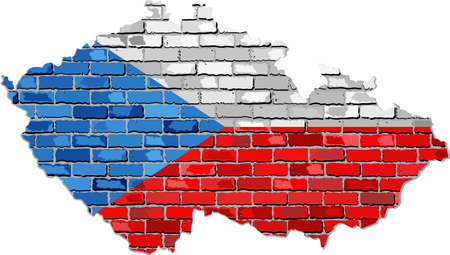Czech Republic map on a brick wall - Illustration, Grunge map and flag of Czech on a brick wall, Czechia map with flag inside