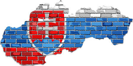 Grunge map and flag of Slovakia on a brick wall, Slovakia map with flag inside.