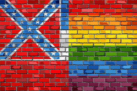 Rainbow flag on brick textured background, Abstract grunge Mississippi Flag and LGBT flag