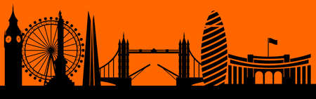 Vector city skyline silhouette - illustration,  Town in orange background,   City of London, Great Britain
