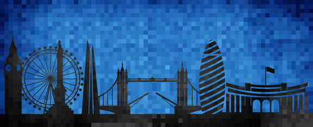 Vector city skyline silhouette - illustration,  Mosaic city in grunge blue background,   City of London Ilustração