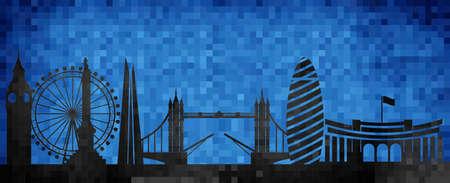 Vector city skyline silhouette - illustration,  Mosaic city in grunge blue background,   City of London Illustration
