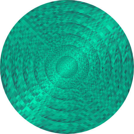 Concentric turquoise circles in mosaic - Illustration. Turquoise button in mosaic style.