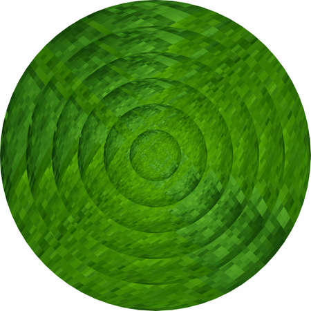 Concentric green circles in mosaic  Illustration, Green button in mosaic style