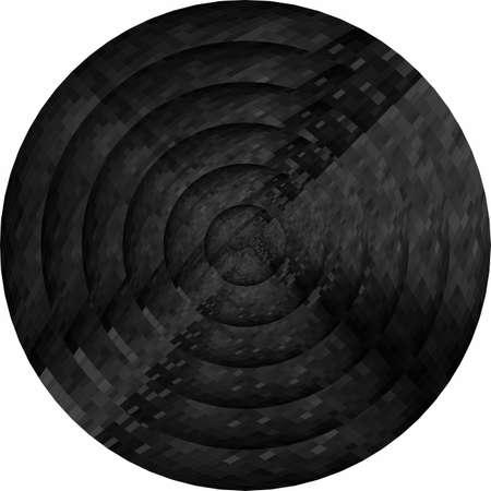 Concentric black circles in mosaic illustration Ilustração