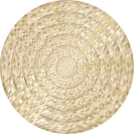 Concentric beige circles in mosaic illustration