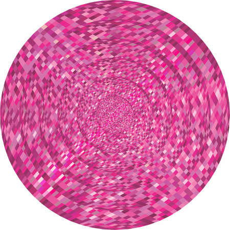 Concentric pink circles in mosaic illustration