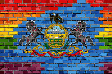 Brick Wall Pennsylvania and Gay flags - Illustration, Rainbow flag on brick textured background,  Abstract grunge Pennsylvania Flag and LGBT flag