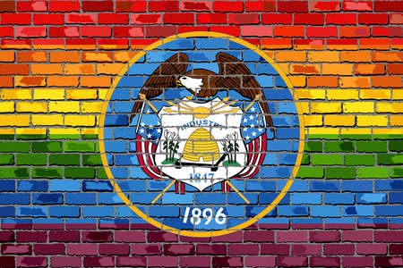 Brick Wall Utah and Gay flags - Illustration, Rainbow flag on brick textured background,  Abstract grunge Utah Flag and LGBT flag
