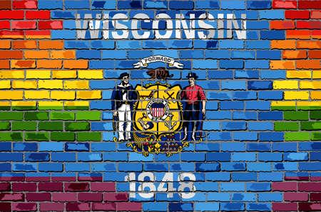 Rainbow flag on brick textured backdrop