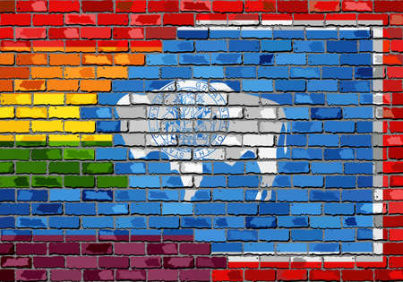 Brick Wall Wyoming and Gay flags - Illustration, Rainbow flag on brick textured background,  Abstract grunge Wyoming Flag and LGBT flag 向量圖像