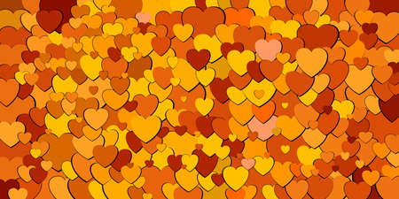 Abstract background with various shade of orange hearts. Иллюстрация
