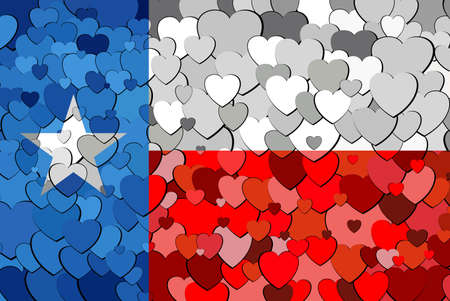 Texas made of hearts background - Illustration,  Flag of Texas with hearts background
