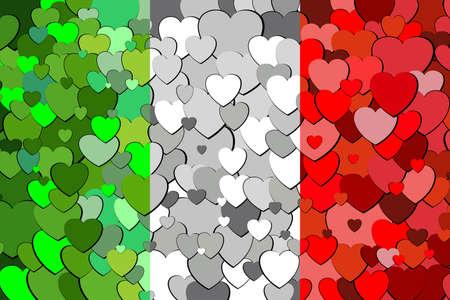 Italian flag made of hearts background - Illustration,  Flag of Italy with hearts background Illustration