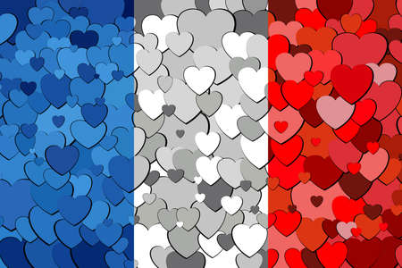 French flag made of hearts background - Illustration,  Flag of France with hearts background