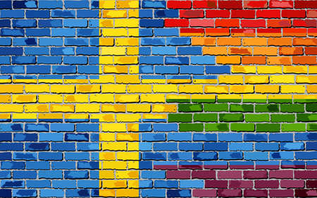 Brick Wall Sweden and Gay flags - Illustration, Rainbow and Sweden flag on brick textured background,  Abstract grunge Swedish flag and LGBT flag