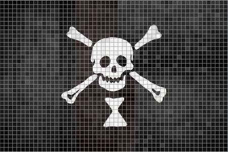 Pirate flag - Illustration,  Emanuel Wynn pirate mosaic textured background,  Grunge mosaic Buccaneer Flag,  Abstract grunge mosaic vector