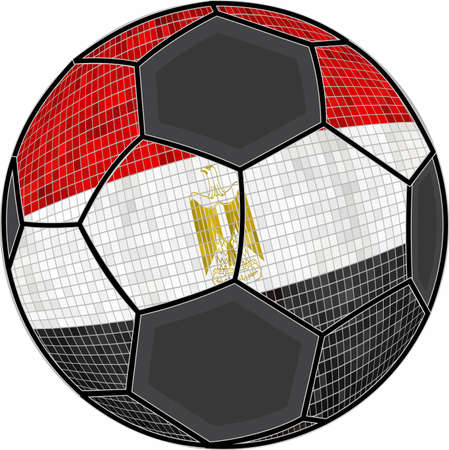 Egypt flag with soccer ball background - Illustration,  Soccer football ball with Egyptian flag,  Abstract grunge mosaic vector Illustration