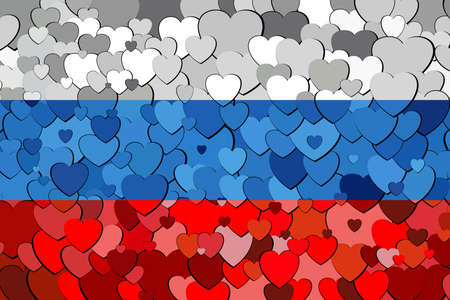 Russian flag made of hearts background - Illustration,  Flag of Russia with hearts background