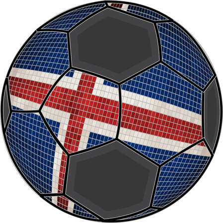Iceland flag with soccer ball background - Illustration,  Soccer football ball with Icelandic flag,  Abstract grunge mosaic vector