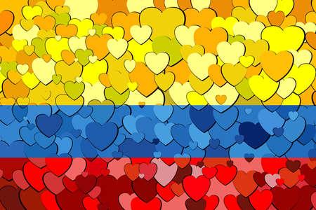 Drapeau colombien fait de fond de coeurs - Illustration, drapeau de la Colombie avec fond de coeurs Vecteurs