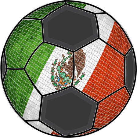 Mexican flag with soccer ball background - Illustration,  Soccer football ball with Mexico flag,  Abstract grunge mosaic vector