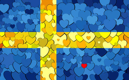 Swedish flag made of hearts background - Illustration,  Flag of Sweden with hearts background Çizim