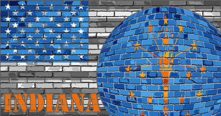 Indiana flag on the grey USA flag background - Illustration,  Ball with Indiana flag