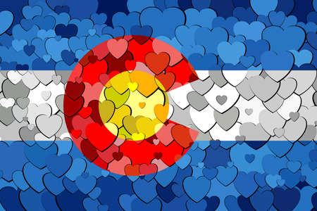 Colorado made of hearts background - Illustration,  Flag of Colorado with hearts background